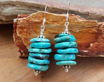 Genuine Blue Turquoise Gemstone Chip and Sterling Silver Earrings, Turquoise Chips and Sterling Silver Earrings, Blue Turquoise Dangles