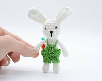 Handmade Bunny, miniature bunny, amigurumi gift, collectible bunny, handmade rabbit, green bunny boy, shower gift toy, plush bunny decor