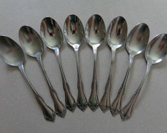 Mansfield silverware Wm A Rogers - Oneida Stainless Flatware 8 Soup Spoons