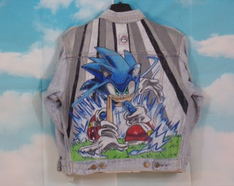 Blue denim jacket Kid K4U-Creations Motif Sonic hand-painted Size 10 years Complices