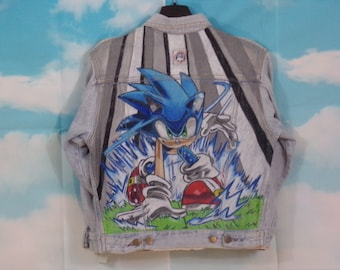 Veste jean Kid bleu délavé, veste en jean Motif Sonic peint main Taille 10 ans Complices