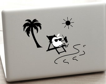 beach macbook decal, hawaii macbook decal, sunglasses macbook decal, palm tree decal, ocean laptop decal sticker, Wave Decal, relax decal