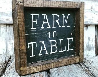 Farmhouse Sign | Farm to Table Sign | Farmhouse Decor | Cottage Kitchen | Black-Wash Sign | French Country Kitchen | Farmhouse Kitchen Sign