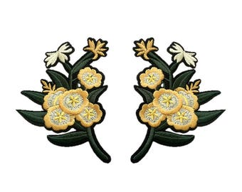 Yellow Daffodil Flower Embroidery Patches Embroidered DIY Iron On Patch