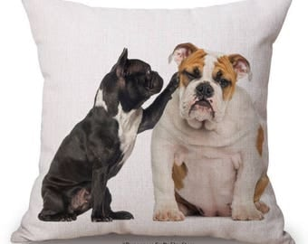 """Bulldog with Fench Bulldog Cushion Cover with Cushion Insert Included- 18"""" by 18"""" -"""