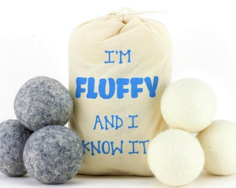Feeling Fluffy 100% New Zealand Wool Dryer Balls 6 Pack - Natural Handmade Laundry Ball Fabric Softener
