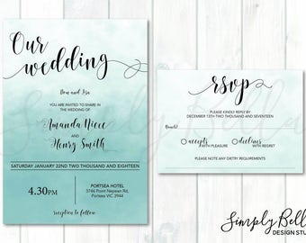 Wedding Invitation and RSVP bundle DIGITAL DOWNLOAD