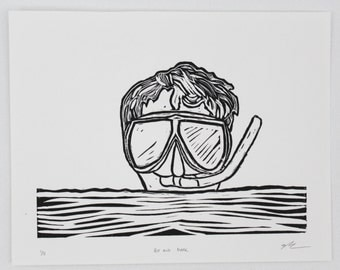 Boy and Mask, Linocut, Hand Printed, Limited Edition, Printmaking Original