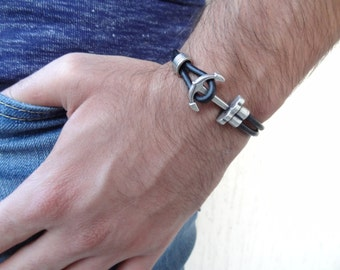 EXPRESS SHIPPING,Men's Black Leather Bracelet, Men's Jewelry, Anchor Bracelet, Men's Cuff Bracelet, Father's Day, Valentine's Gifts