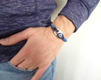 EXPRESS SHIPPING, Men's Evil Eye Bracelet, Navy Blue Leather Bracelet ,Protection Bracelet, Mens Jewelry, Cuff Bracelet, Father's Day Gifts
