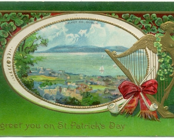 View of DALKEY Dublin Ireland St. Patrick's Day  1912 Antique POSTCARD Post Card