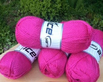 Knitting yarn. Lot of 4 Skeins Ice Yarns. Wool yarn. Yarn for knitting. Bright Pink.