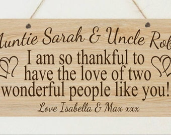 Personalised Auntie Uncle Sister Brother Thank You Shabby Plaque Chic Birthday Christmas Gift Sign Present