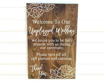 Unplugged Sign - Unplugged Wedding - Unplugged Ceremony - Cell Phone Sign - No Camera Sign - Unplugged - Wedding Unplugged - Unplugged Signs