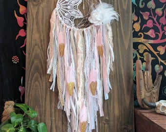 White Pink Gold Dream Catcher - Bohochic Nursery Decor - bohemian Wall Hanging - boho baby shower gift - gift for her - home gift