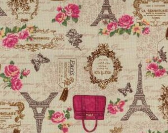 Shabby chic fabric cotton canvas print Eiffel tower paris design vintage look sold by metre
