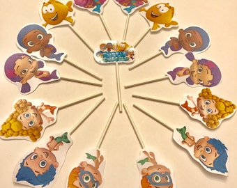 Bubble Guppies cupcake toppers. 16 Bubble Guppies cake toppers. Party supplies.