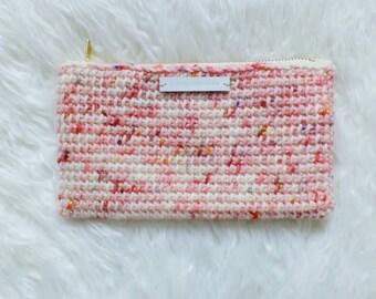 Pink Speckle Zipper Purse - Tunisian Crochet