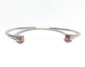 _ _ Cubes bracelet silver + copper