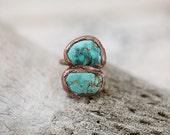 Electroformed turquoise, turquoise ring, Copper ring, Turquoise statement ring *Sample sale*