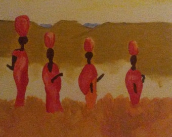 African people in the desert, acryl painting
