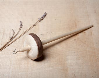 Drop Spindle | Top Whorl | Sterling Silver Hook | Hand Crafted Drop Spindle | Hardwood | Sycamore and Walnut