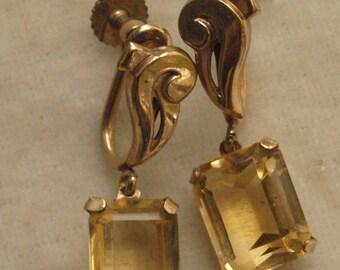 Retro Moderne Gold Filled Citrine Dangle Earrings