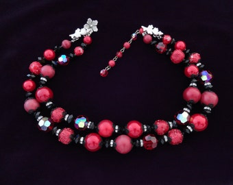 Coro Vendome Necklace AB Red and Black Crystal, Faux Red Pearl, Rhinestone Necklace