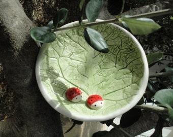 Ceramic bowl- Ring dish holder- Cabbage bowl- Bowl with ladybugs-Home decor