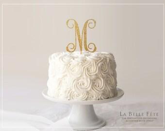 Single-Letter MONOGRAM CAKE TOPPER gold glitter
