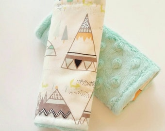 Teepee Car Seat Strap Covers, Mint Car Seat Straps, Minky Strap Covers, Baby Boy, Car seat boy, Teepee Car Accessories
