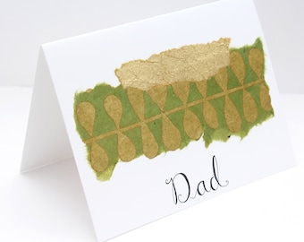 Unique, Handmade Card for Dad; Father's Day Card; Birthday Card for Dad; Unique Card for Dad; Olive Green and Gold