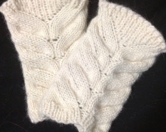 Natural Off-White Angora Wristlets - Wrist Warmers made from Reclaimed Angora and Lamb's Wool