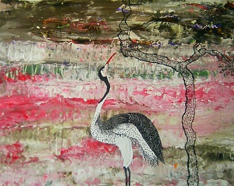 "painting signed Khava listed artist Manceau Artprice entitled ""the wader"