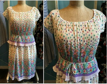 Vintage 1980s Flowered Blouse Dress with Peplum and Tie Belt - Size 11/12