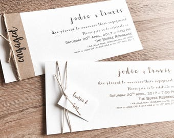 Personlised Engagement Invitations with name band & twine. Envelope. Gold or charcoal writting