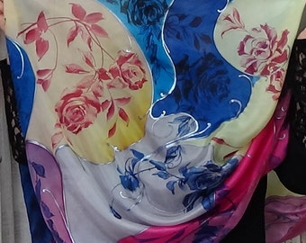 Hand painted silk scarf with pink, blue and black roses. Gift for her. Birthday gift. Natural silk: Habotai. 67 x 28 inches
