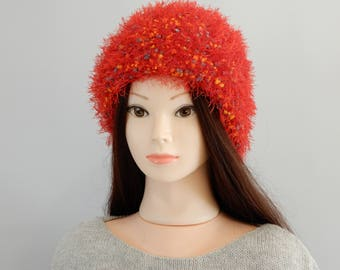 Knit hats women, unique hats, knitted hats for women, handmade hat, red knit hat, womens hat, winter hat, knit beanie hat, size S-L