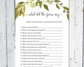 What Did The Groom Say, Bridal Shower Game, Instant Download, Greenery, Wreath, Floral, White