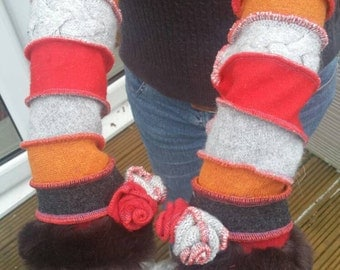 Elven Upcycled Sweater Arm warmers  boho clothing