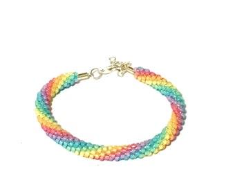 Rainbow Kumihimo bracelet