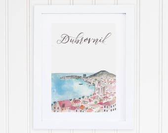 Watercolor Dubrovnik Croatia Print | Dubrovnik Watercolor Art | Dubrovnik City Skyline Painting | European Travel Art | City Print Set