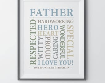Fathers Day Gift Personalized Gift for Dad Gift for Father Birthday Gift for Father Thank You Dad Personal Gifts Father Father's Day
