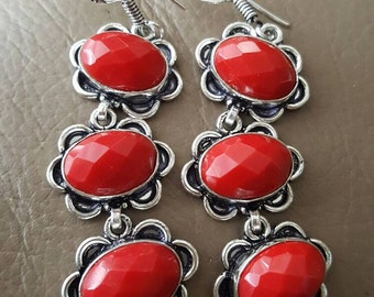 Red Coral Gemstone faceted Earrings!