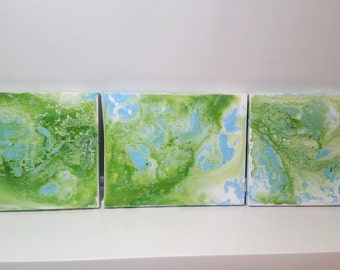 Set of 3 Liquid painting, Abstract painting, Marble painting, marble art, living room wall art, fluid painting, fluid art painting on canvas