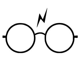 Harry Potter Glasses & Lightning Bolt Scar Vinyl Decal - Glitter Available