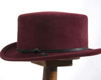 Handmade Maroon Fur Felt Mini Top Hat