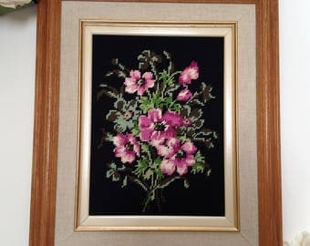 Vintage Framed Pink and Green Flower Needlepoint Tapestry,Black Background Framed Floral Needlepoint,Wood Framed Needlework,Cottage Chic