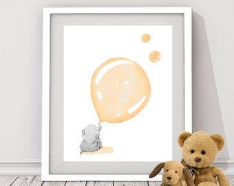 peach elephant digital download, baby elephant digital print, elephant art for nursery room, elephant instant download, baby animal print