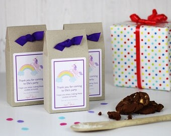 Personalised Rainbows and Unicorn Themed Double Chocolate Chip Cookie Mix Party Bag